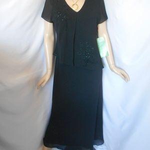 Nwt +$79 STUDIO I Sz 12 Black Beaded Evening Dress